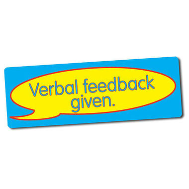 Sheet of 56 Verbal Feedback Given 46mm x 16mm Stickers