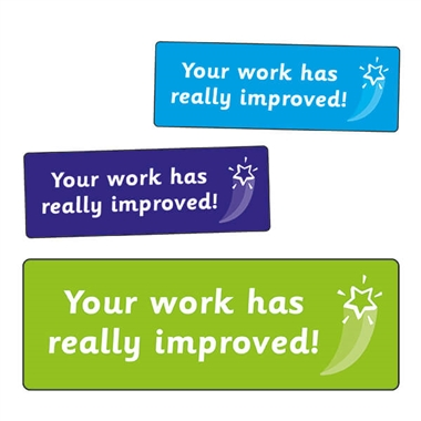 Your Work Has Really Improved! Stickers (56 Stickers - 46mm x 16mm)