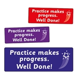 Practice Makes Progress Stickers (56 Stickers - 46mm x 16mm)