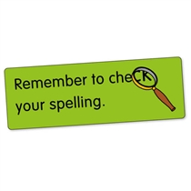 Sheet of 56 Remember to Check Spelling 46mm x 16mm Stickers