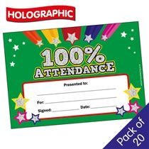 100% Attendance Certificates Holographic (A5) x 20