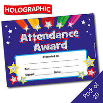 Pack of 20 Holographic Attendance Award Certificates