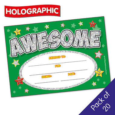 Pack of 20 Holographic Awesome A5 Certificates