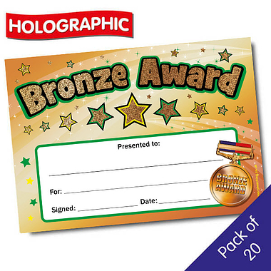 Holographic Bronze Award Certificates (A5 x 20)