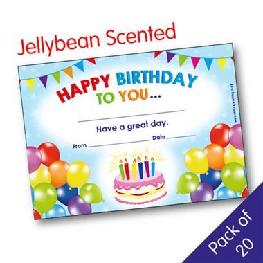 'Happy Birthday To You' Jellybean Scented A5 Certificates x 20