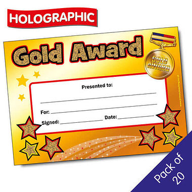Holographic Gold Award Certificates (20 Certificates - A5)