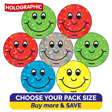 Holographic Smiley Stickers (20mm)