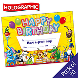 Holographic Happy Birthday Certificates (20 Certificates - A5)