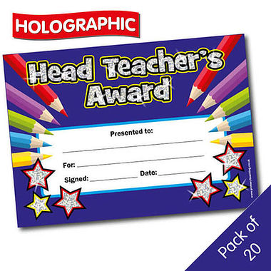 Holographic Head Teacher Award Certificates (20 Certificates - A5)