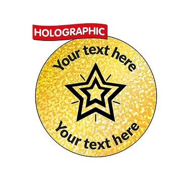 Personalised Holographic Gold Star Stickers (70 Stickers - 25mm)