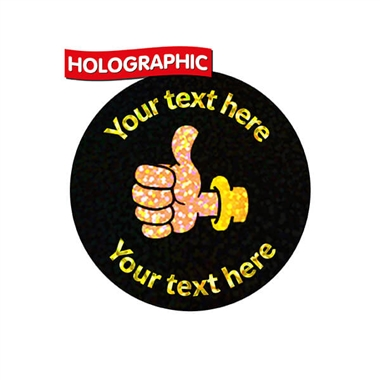 Personalised Holographic Thumbs Up Stickers (70 Stickers - 25mm)