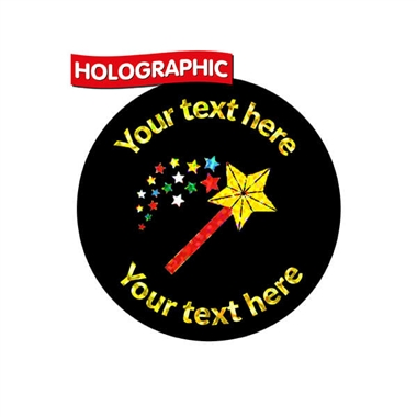 Personalised Holographic Magic Wand Stickers (70 Stickers - 25mm)