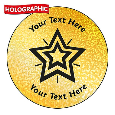 Personalised Holographic Gold Star Stickers (72 Stickers - 35mm)