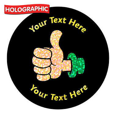 Personalised Holographic Thumbs Up Stickers (72 Stickers - 35mm)