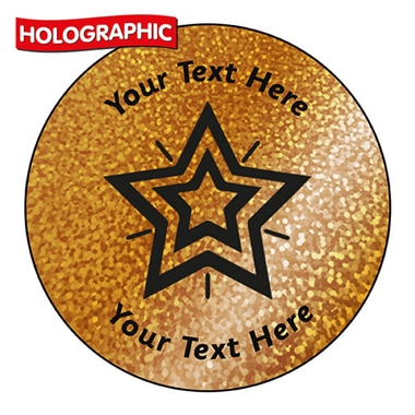 Personalised Holographic Bronze Star Stickers (72 Stickers - 35mm)