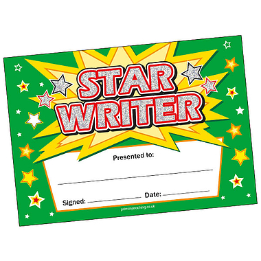 Star Writer Certificates - Holographic (20 Certificates - A5)