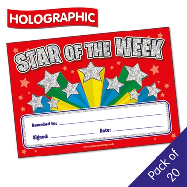 Holographic Star of the Week Certificates (20 Certificates - A5)