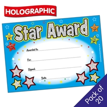 Holographic Star Award Certificates (20 Certificates - A5)