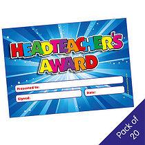 Pack of 20 Head Teacher Award Blue Certificates