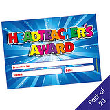 Pack of 20 Head Teacher Award Blue Certificates