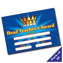 'Head Teacher's Award' A5 Reward Certificates x 20