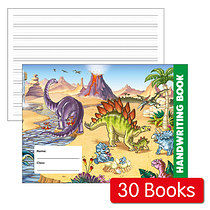 Box of 30 Dinosaur Themed 32 Page Lined Handwriting Book