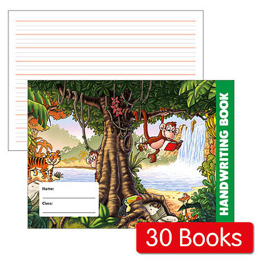 Box of 30 Jungle Themed 32 Page Lined Handwriting Book