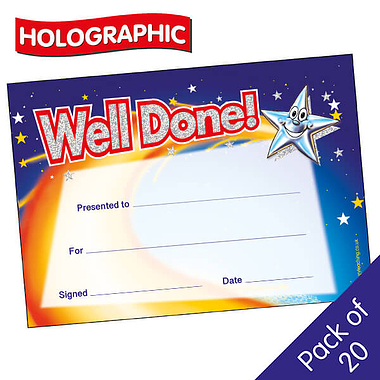 Holographic Well Done Star Certificates (20 Certificates - A5)