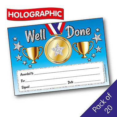 Pack of 20 Holographic Well Done A5 Certificates