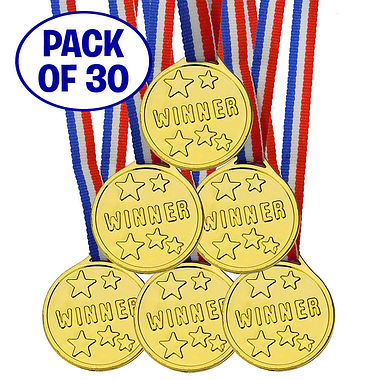 Pack of 30 Plastic Gold Winner Medals
