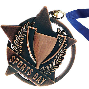 Bronze Sports Day Medal with Blue Ribbon