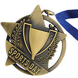 Gold Sports Day Medal with Blue Ribbon