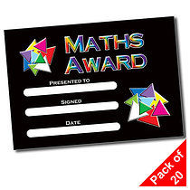 Pack of 20 Maths Award A5 Certificates