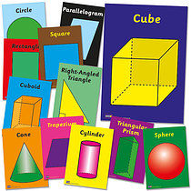 Pack of 12 A4 Numeracy Geometry & Shapes Card Posters
