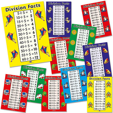 Pack of 11 A4 Division Facts Card Posters
