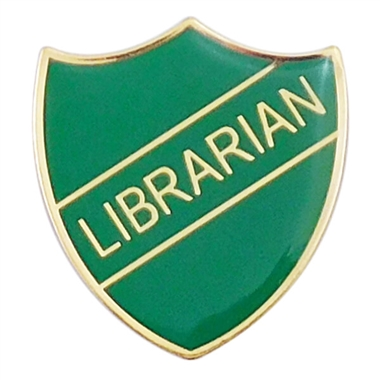 Librarian Enamel Badge - Green (30mm x 26.4mm)
