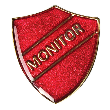 Monitor Enamel Badge - Red (30mm x 26.4mm)