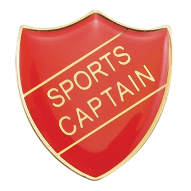 Sports Captain Enamel Badge - Red (30mm x 26.4mm)