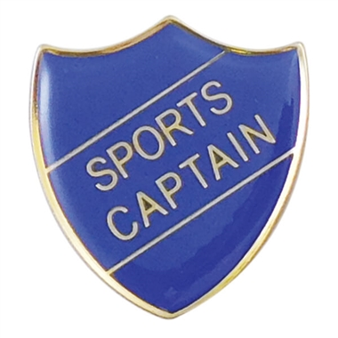 Sports Captain Enamel Badge - Blue (30mm x 26.4mm)