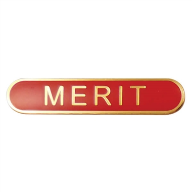Merit Enamel Badge - Red (45mm x 9mm)