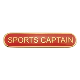 Sports Captain Badge - Red (45mm x 9mm)