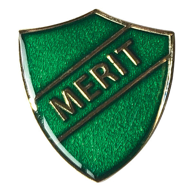 Merit Shield Badge - Enamel (Green)