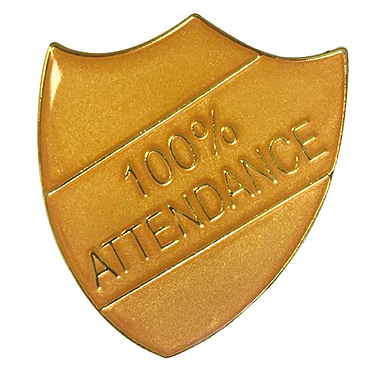 100% Attendance Shield Badge (Gold)