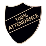 100% Attendance Shield Badge (Black)