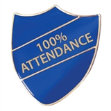100% Attendance Shield Badge (Blue)