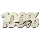 100% Silver Badge - Metal (25mm x 10mm)