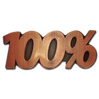 100% Bronze Badge - Metal (25mm x 10mm)
