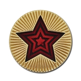 Round Star Enamel Badge - Red