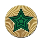 Round Star Enamel Badge - Green