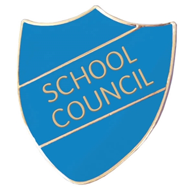 School Council Enamel Shield Badge - Cyan